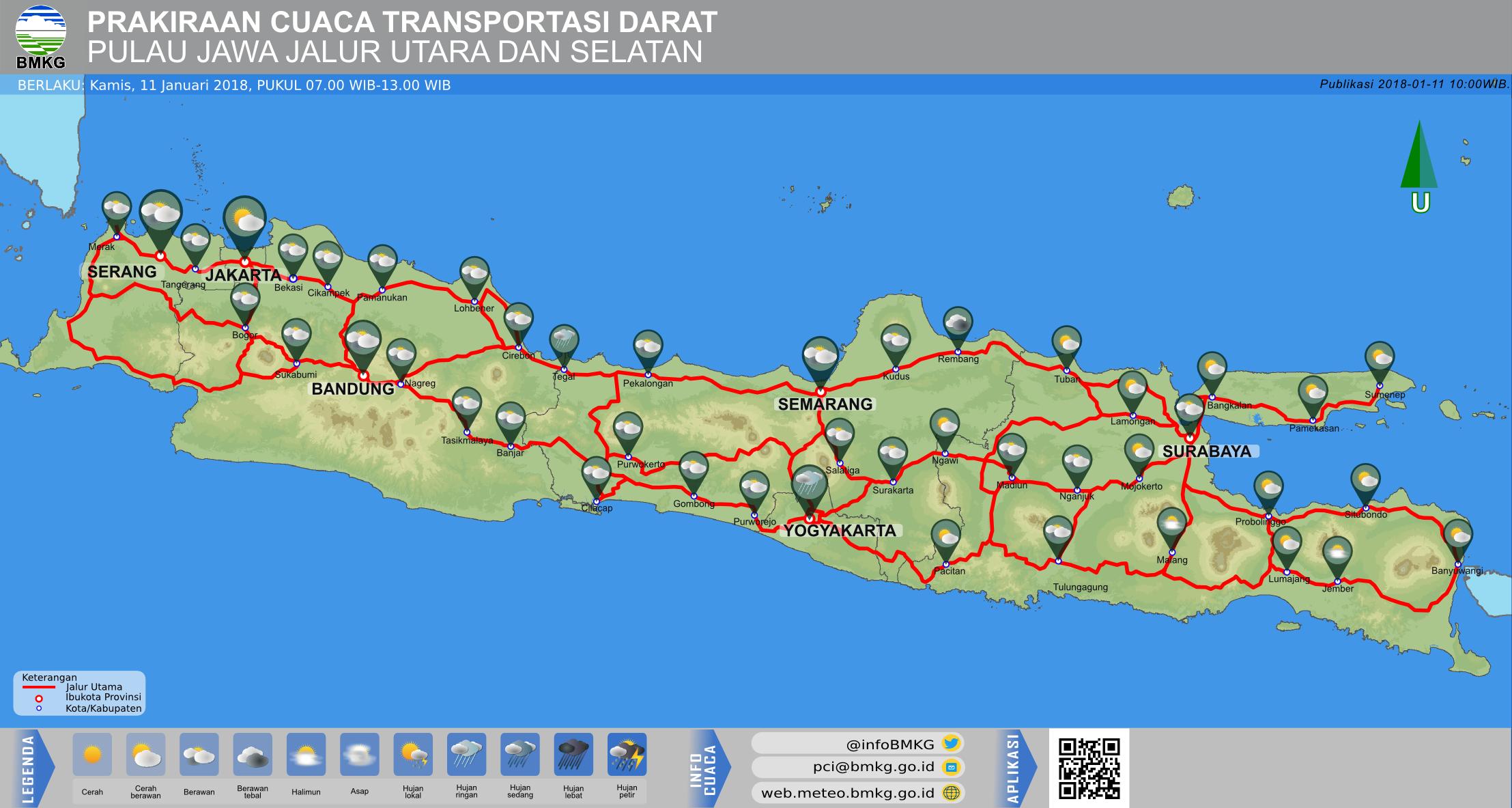 Prakiraan Cuaca Transportasi Darat Jawa Jalur Utara dan Selatan Hari Ini - Pagi Hari - Pukul 07.00 WIB - Siang Hari Pukul 13.00 WIB