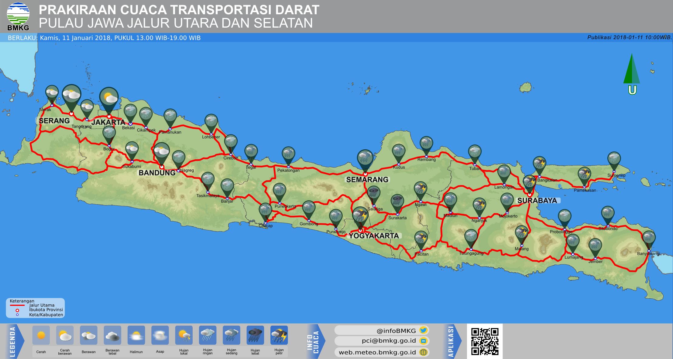 Prakiraan Cuaca Transportasi Darat Jawa Jalur Utara dan Selatan Hari Ini - Siang Hari Pukul 13.00 WIB - Malam Hari Pukul 19.00 WIB
