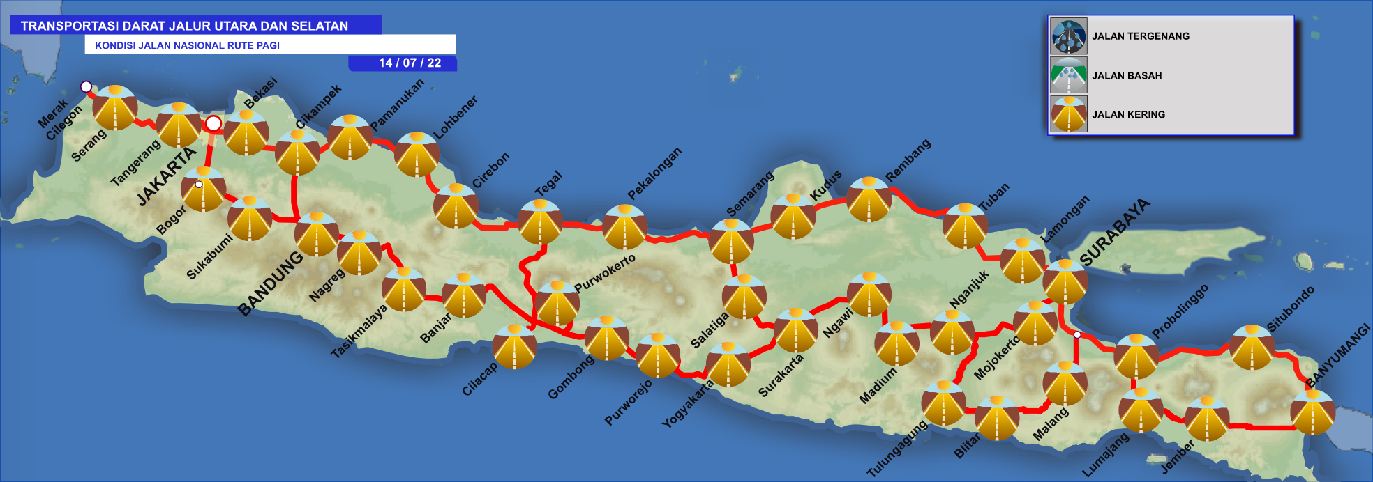 Prakiraan Kondisi Jalan (Tergenang/Basah/Kering) Transportasi Darat Jalur Utara dan Selatan Hari Ini Pada Pagi Hari