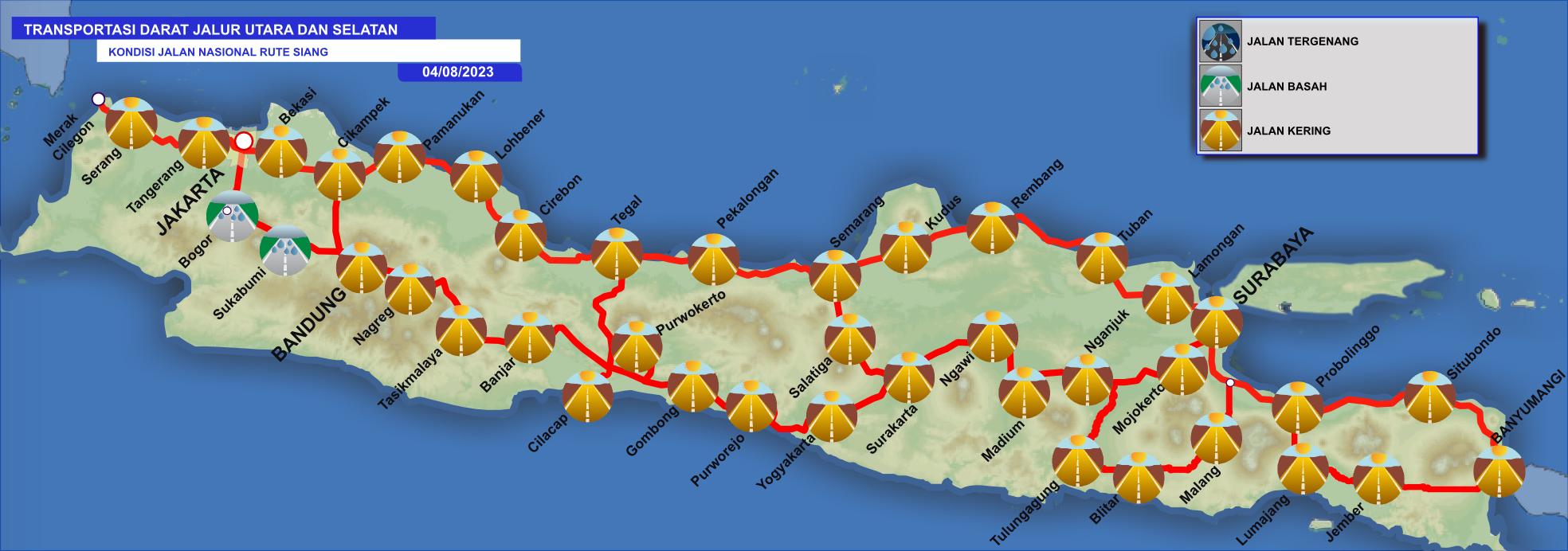 Prakiraan Kondisi Jalan (Tergenang/Basah/Kering) Transportasi Darat Jalur Utara dan Selatan Besok Hari Pada Siang Hari